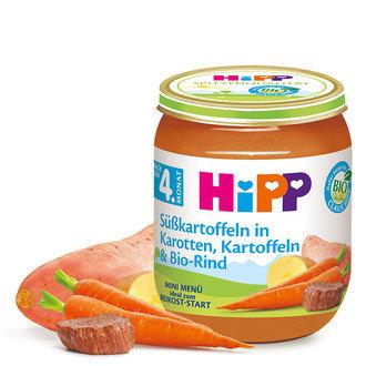 HIPP БИО Бебешко пюре Ранни моркови с картофи 125 гр. 4 м.+